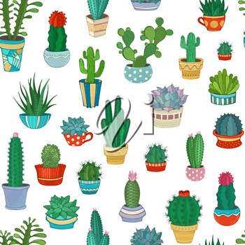 A variety of cartoon cactus with prickles, flowers and without. They are in flower pots or cups. Cartoon boundless background.