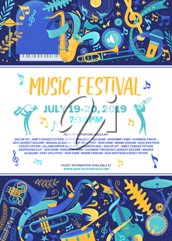 Jazz and blues flat vector poster template. Retro music party web banner layout. rock and roll band performance advertising brochure. Woodwind instruments player silhouettes illustration