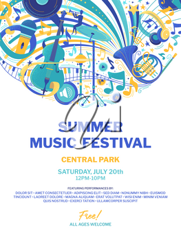 Summer open air music festival flat poster template. Jazz and blues concert web banner. Modern and retro musical instruments doodle drawings. Rock and roll band performance advertising brochure