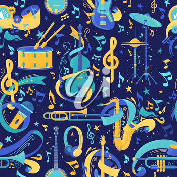 Musical instruments flat vector seamless pattern. Cello, saxophone, trombone texture. Strumming, percussion, brass instruments. Music festival, jazz performance, classical orchestra background