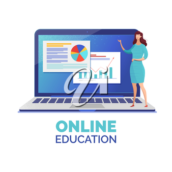 Online education web banner flat vector template. Stock market analysis, data statistics and analytics online course. Female educator offering Internet lesson cartoon character. Distance classes