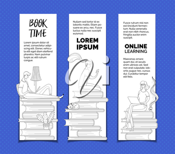 Digital library readers outline vector templates set. Digital library archive, ereader, elearning web banners pack with text space. Online courses, Internet lessons and remote classes advertisement posters