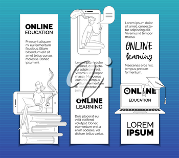 Ereading bookmarks templates set. Digital library archive, ereader, elearning web banners pack with text space. Online courses, Internet lessons and remote classes advertisement posters