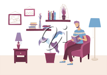Young man reading book at home in armchair. Happy casual boy relaxing with book in cozy living room interior vector illustration in flat style. Literature hobby and happy lifestyle. Distance education