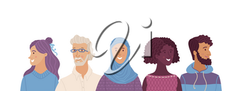 Multicultural smiling adult men and women standing together. International community concept with diverse people vector illustration. Multiethnic group of happy people. Cultural and religion equality.