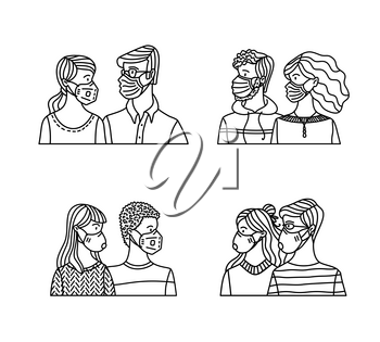 Diversity couples wearing safety breathing masks. Respirators and medical masks. Protection from disease, flu, coronavirus COVID-19, air pollution, and allergy. Vector outline illustration.