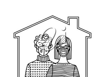Stay at home to help stop the spread of coronavirus Covid-19. Social distancing and self-isolation. Man and woman wearing safety masks. Outline vector illustration