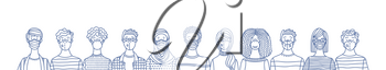 Multicultural group of people wearing disposable medical masks together. International corona virus protection and epidemic prevention vector outline illustration. Global self-isolation and quarantine.