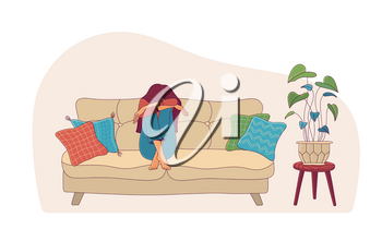 Upset young woman in depression hiding face sitting on sofa near houseplant flat vector illustration. Loneliness, anxiety, mental health, or psychotherapy concept. Cartoon female character