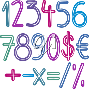 Colorful retro brush numbers and signs