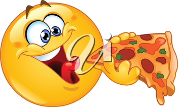 Emoticon eating pizza