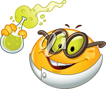 Scientist emoticon holding a beaker full with bubbly fluid