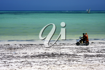 two person in a scooter in the beach of zanzibar