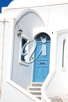 house in santorini greece europe old construction white      and blue