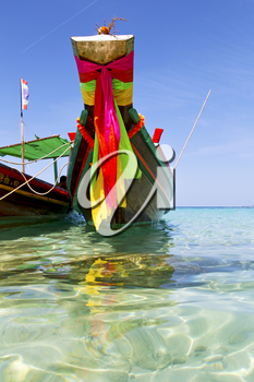prow thailand  in  kho tao bay asia isle blue clean water    pirogue   and south china sea