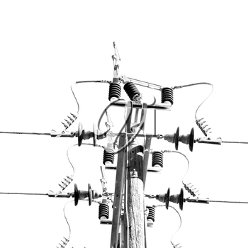 wood pylon energy and current line   in oman the electric cable