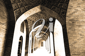 in iran shiraz the corridor passage old mosque and wall arch for islm religion