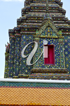 bangkok in   temple  thailand abstract cross colors roof wat  palaces   asia sky   and  colors religion mosaic