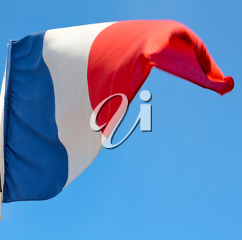 waving flag in the blue sky  france colour and wave