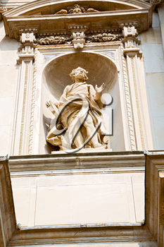 marble in old historical construction italy europe milan and statue