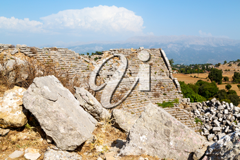 the    hill in asia turkey selge old architecture ruins and nature