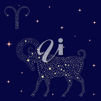 Zodiac sign Aries on a background of the starry sky, vector illustration
