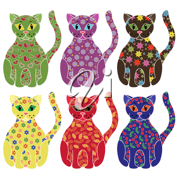 Set of six colourful vector cats with lace ornamental bodies and without contour lines, isolated on white background