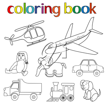 Set of various toys for coloring book with helicopter, airplane, doll, elephant, car, lorry, locomotive and puppy, cartoon vector illustration