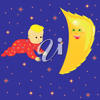 Baby Dreaming with smiling Moon and against the night sky. Hand Drawing Cartoon Vector Illustration