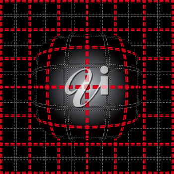 Red grid of double dashed lines on abstract lighting convex background, vector illustration