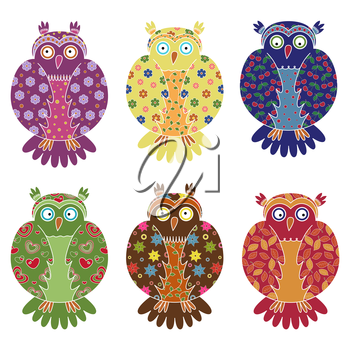 Set of six colourful vector owls with lace ornamental bodies and without contour lines, isolated on white background