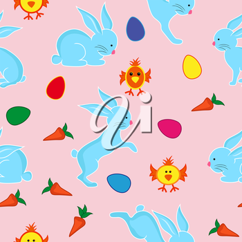 Easter seamless vector pattern with blue rabbits, Easter eggs, small chickens and carrots
