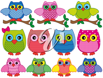 Set of eleven ornamental cartoon vector owls with various characters isolated on white background