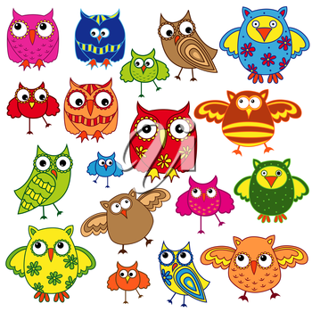 Set of eighty colourful vector owls isolated on white background