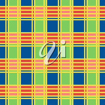 Rectangular seamless vector pattern as a tartan plaid mainly in motley trendy colors