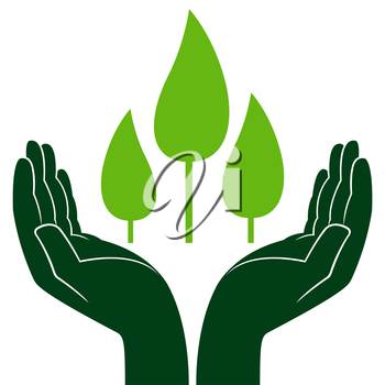 Green trees in human hands, conceptual ecologic vector illustration