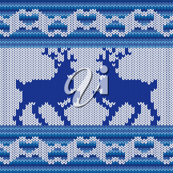 Ornamental Vector Pattern with two Reindeers as a stylish Fabric Knitted ethnic texture in blue, cyan and light grey colors, can be used as a seamless pattern
