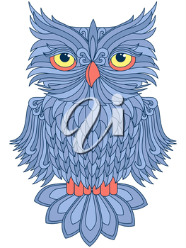 Amusing big blue owl with yellow eyes isolated on the white background, cartoon vector artwork