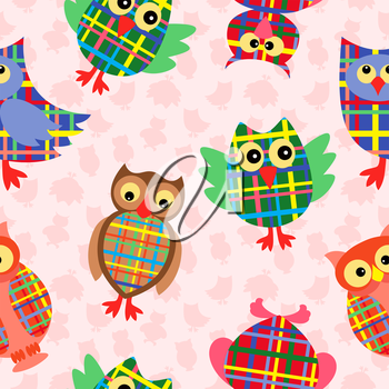 Likable colourful checkered owls on the pink background with many stylized simple owls, seamless vector pattern