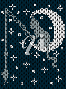 Fishing cat sitting on the moon on the background of dark blue sky with stars, childish knitting fabric vector pattern in muted hues