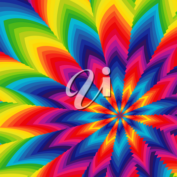 Stylized spectrum color flower pattern, vector artwork