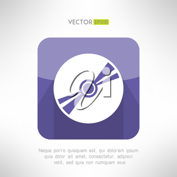 Audio disk icon im modern flat design. Musical cd with long shadow symbol. Vector illustration