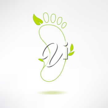 Foot logo with green leaf. Ecology and massage concept. Footprint icon isolated on stylish background. Vector Illustration