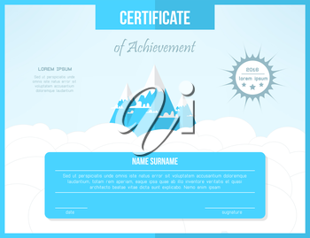 Certificate template for achievement. Bright certificate design with mountains and clouds.