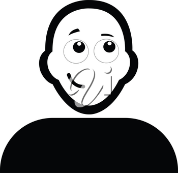 Flat black confident face emoticon icon vector