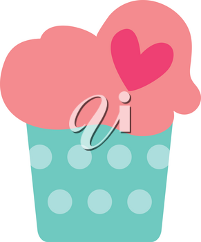 Simple flat color cupcake icon vector