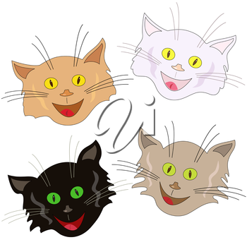 Set of four funny cheerful cat faces as masks isolated on a white background, cartoon vector illustration