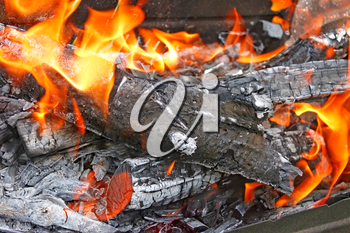 Burning firewood with ashes and flames close-up