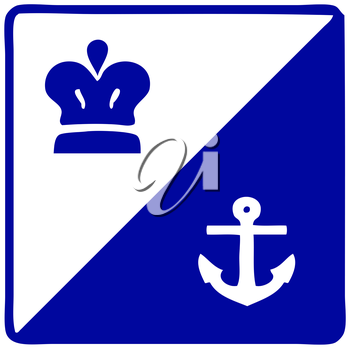 Royalty Free Clipart Image of a Crown and Anchor Sign