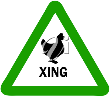 Royalty Free Clipart Image of a Chicken Crossing Sign